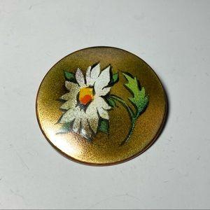 Vintage Enamel On Copper Brooch